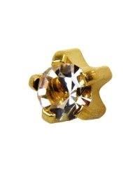 Studex Sterile 2mm Mini Cubic Zirconia Birthstone GOLD Ear Stud (Pair)
