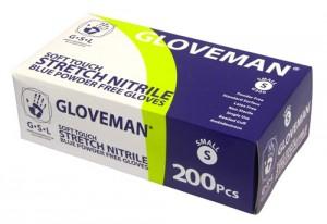 Stretch Nitrile Blue Powder Free gloves box of 200